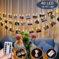 Photo Clips String Lights,40 LED Fairy String Lights for Hanging Pictures,8 Lighting Modes USB/Battery Powered Decor Lights with Remote for Bedroom Wedding Parties (19.7 ft/Warm White)