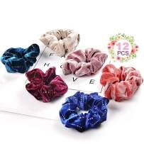 Premium Velvet Shining Hair Scrunchies Bands Scrunchy Hair Ties Ropes Ponytail holder For Girls & Women Accessories - 12 Colors