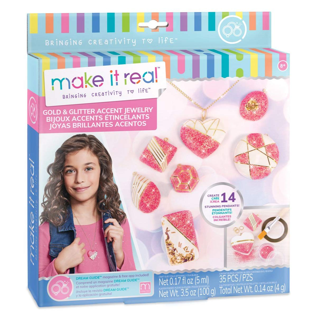 Make It Real - Gold and Glitter Accent Jewelry. DIY Necklace and Pendant Making Kit for Girls. Arts and Crafts Kit Guides Kids to Create Unique Gold and Glitter Pendants for Necklaces