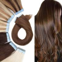 Tape In Human hair Extension Skin Weft Real Hair Extensions Glue In Remy Hair Adhensive Rooted Tape In Strong Double Sided Tape On Hair Pieces For Women 14 inch 30g 20pcs #04 Medium Brown