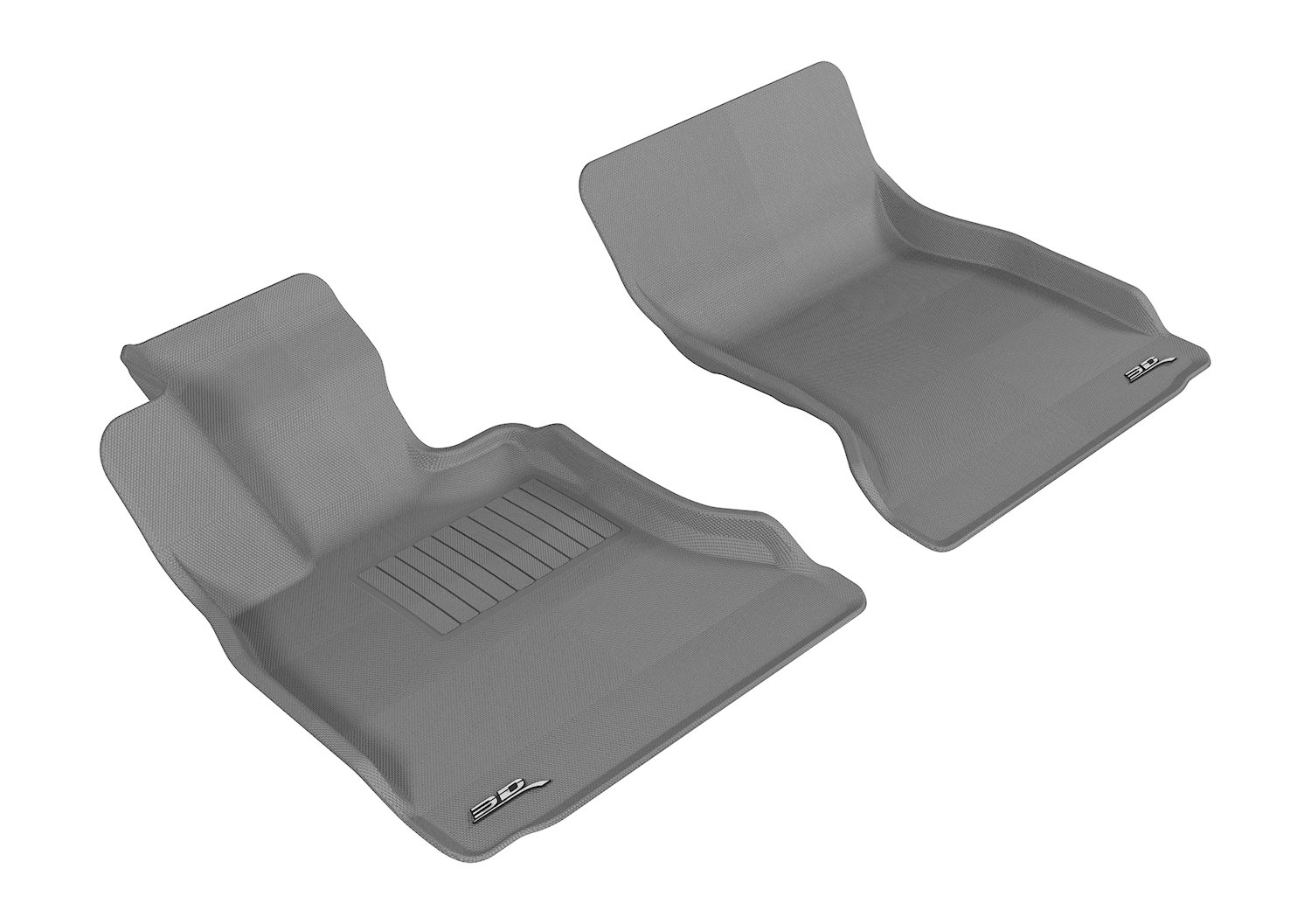 3D MAXpider Front Row Custom Fit All-Weather Floor Mat for Select BMW 5 Series (F10) Models - Kagu Rubber (Gray)