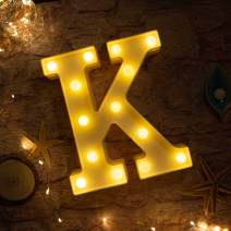 Brightown Decorative LED Marquee Letter Lights 26 Alphabet Light Up Letters Sign for Wedding Birthday Party Night Light Home Bar Decoration Battery Operated (K)