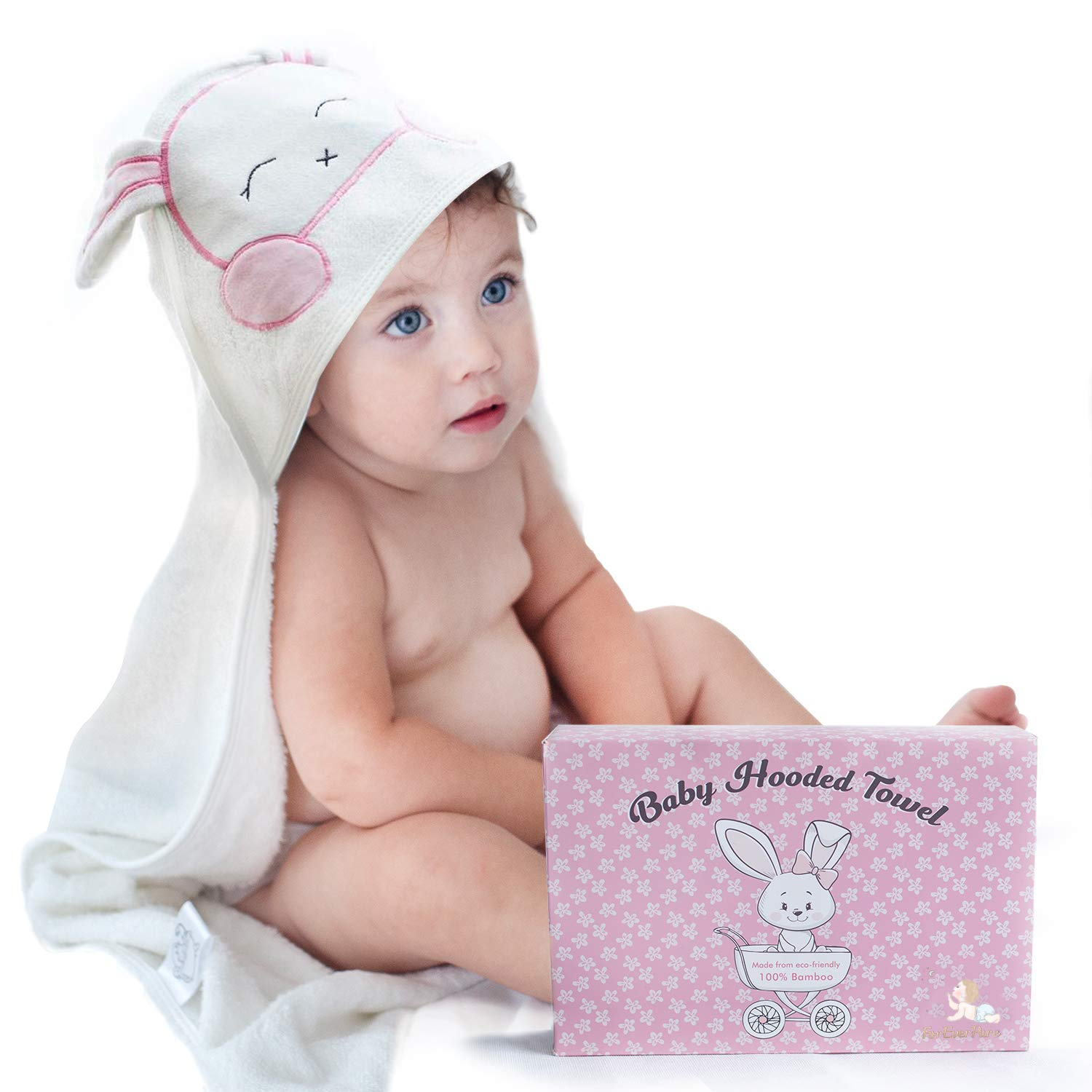 FOREVERPURE Baby Hooded Towel 100% Organic Bamboo Cotton, Super Absorbent, Unique Design for Baby Girl and Toddler. Ultra Soft, White, X-Large, 35 x 35 inches. Perfect with Washcloth