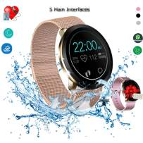 Smart Watch, Fitness Tracker, Waterproof Fitness Watches with Heart Rate Blood Pressure Sleep monitor for Android IOS, Activity Tracker with Calorie Counter, Sport Bluetooth Watch for Women Men
