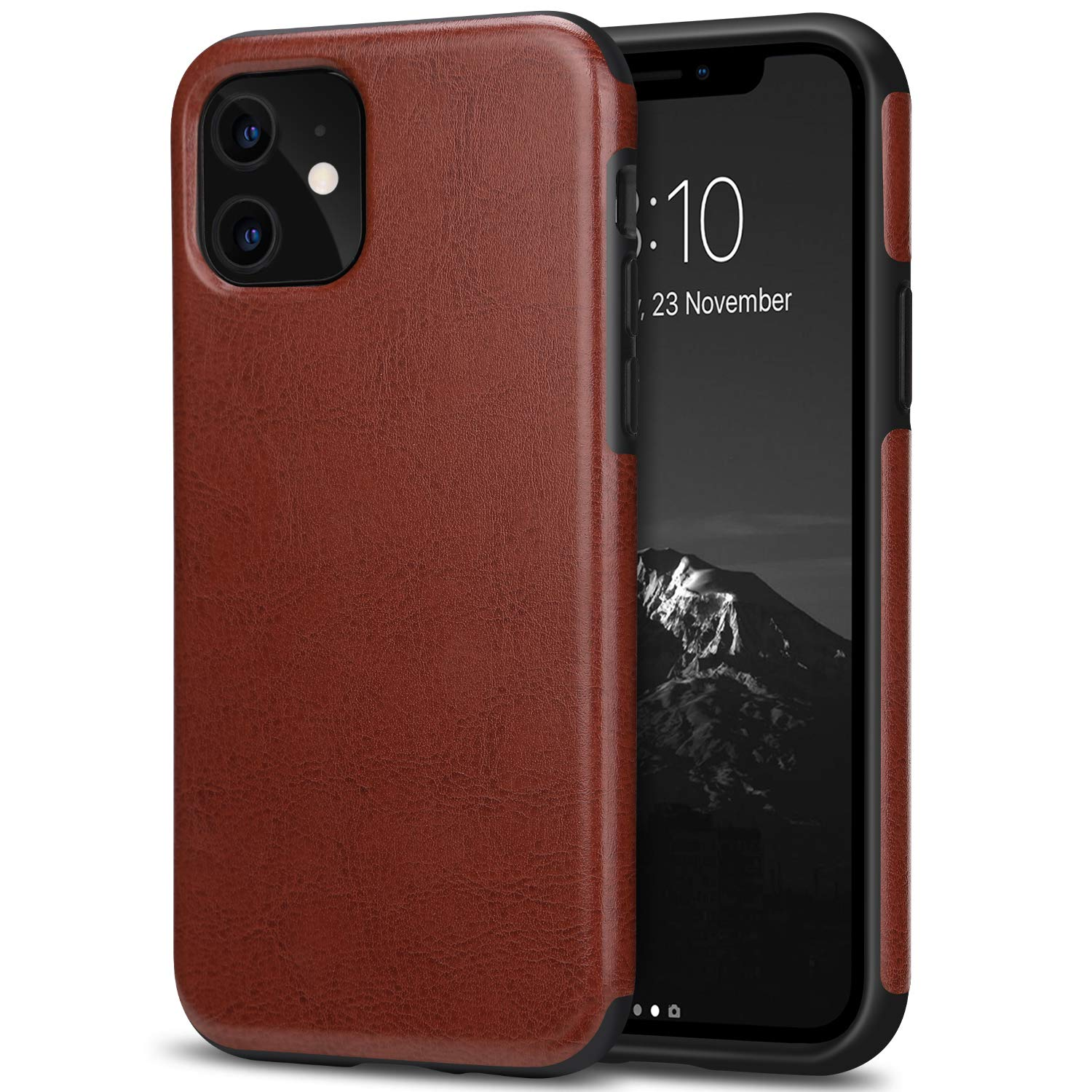 TENDLIN Compatible with iPhone 11 Case Premium Leather TPU Hybrid Case (Brown)