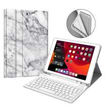 "Fintie Keyboard Case for New iPad 7th Generation 10.2 Inch 2019, Soft TPU Back Stand Cover w/Built-in Pencil Holder, Magnetically Detachable Wireless Bluetooth Keyboard for iPad 10.2"", Marble White"
