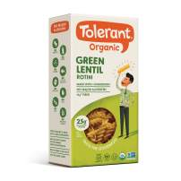 Tolerant Organic Gluten Free Green Lentil Rotini Pasta, 8 Ounce Box (Case of 6), Plant Based Protein, Vegan Pasta, Single Ingredient Protein Pasta, Whole Food, Clean Pasta, Low Glycemic Index Pasta