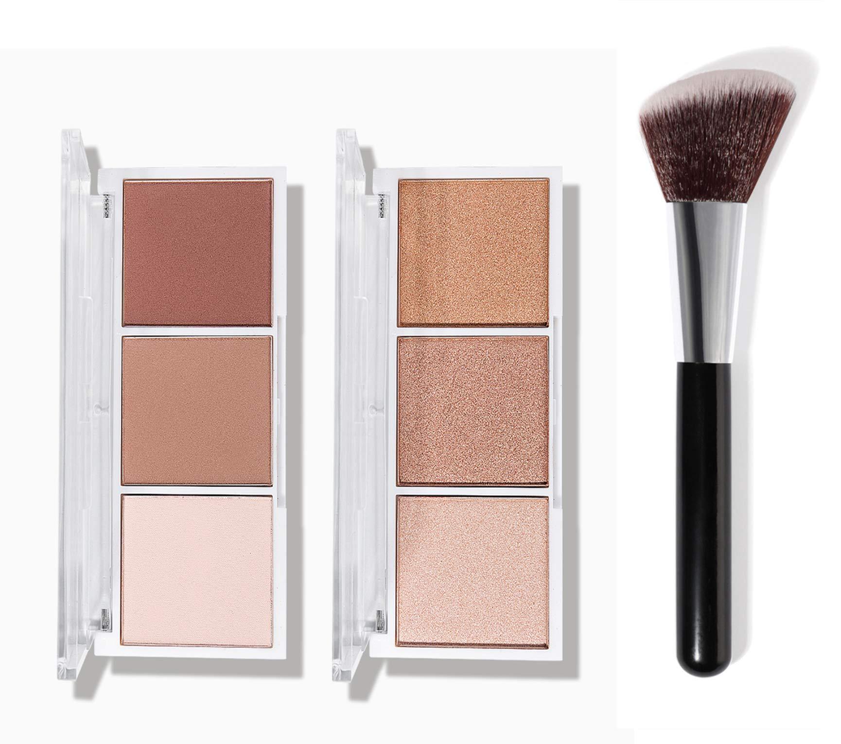 2 Pack Highlighter Palette with Brush, Highlighter Makeup Palette, Glow Bronzer Highlighter Powder Kit, Face Illuminator Makeup Palette, for Bronzer Cheekbones (Set A)