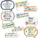 Big Dot of Happiness Funny 50th Birthday - Cheerful Happy Birthday - Colorful Fiftieth Birthday Party Photo Booth Props Kit - 10 Piece