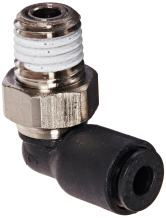 """Legris 3109 53 08 Nylon & Nickel-Plated Brass Push-to-Connect Fitting, 90 Degree Elbow, 1/8"""" Tube OD x 1/16"""" NPT Male"""