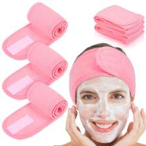 Whaline 4 PCS Spa Headband, Make up Hair Band, Stretch Terry Cloth Headband for Sport Yoga Shower (Pink)