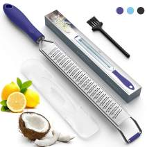 Citrus Zester & Cheese Grater - Perfect to Parmesan Cheese, Lemon, Ginger, Garlic, Nutmeg, Vegetables, Fruits – Razor-Sharp Stainless Steel Blade Protective Cover - Dishwasher Safe, Purple