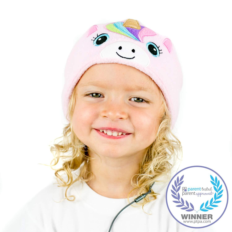 CozyPhones Kids Headphones Volume Limited with Ultra-Thin Speakers & Super Soft Fleece Headband - Perfect Toddlers & Children's Earphones for Home, School & Travel - Pink Rainbow Unicorn