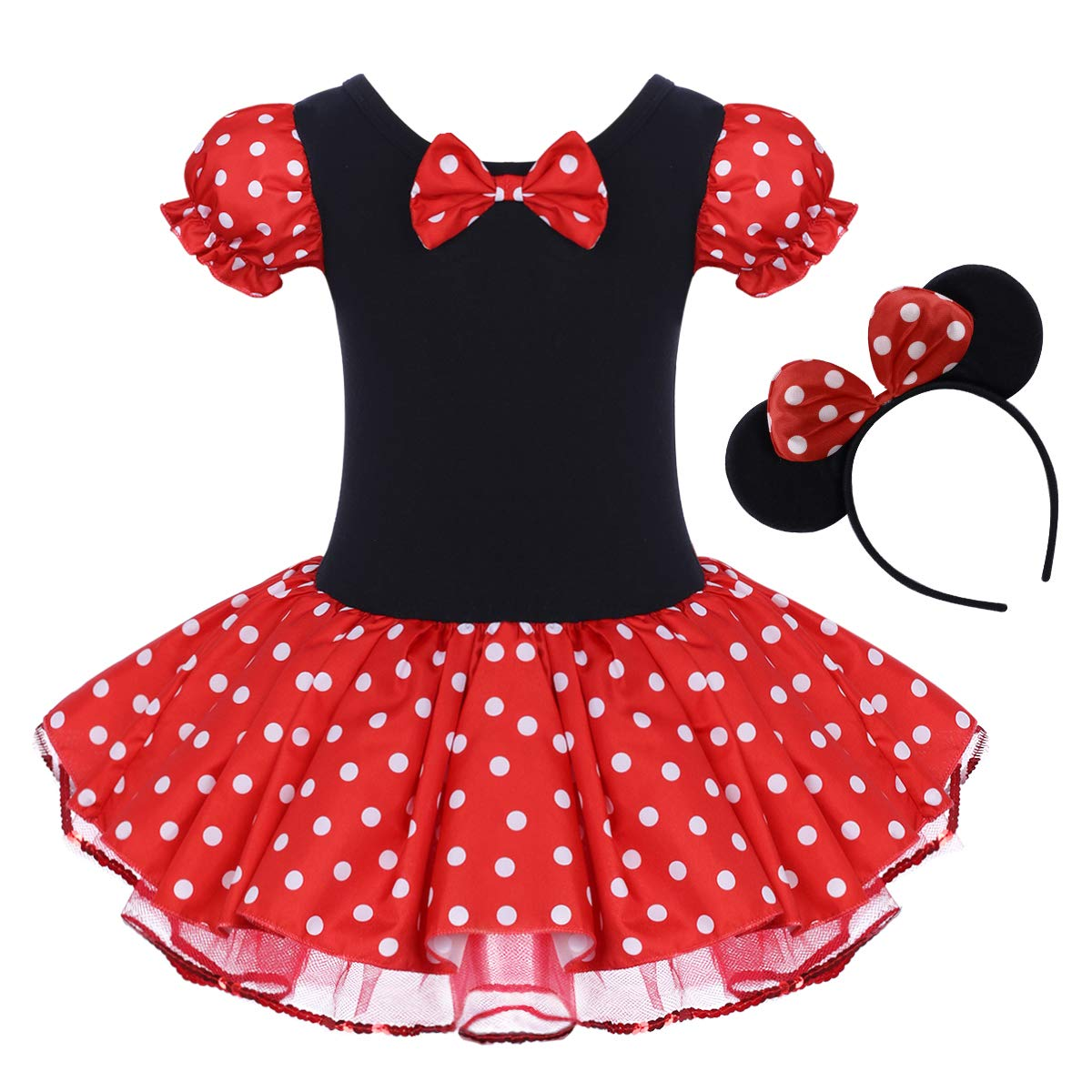 Toddler Girls Polka Dots Princess Party Fancy Costumes Wedding Christening Birthday Flower Tutu Dress up Baby Infant Kids Bowknot Dancing Leotard Carnival Gymnastic Cosplay Dresses Mouse Ear Headband