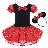 IBTOM CASTLE Toddler Girl Polka Dots Party Fancy Costume Tutu Dress up Dance Leotard Gymnastic Cosplay Cartoon Ear Headband