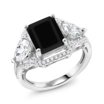 Gem Stone King Black Onyx 925 Sterling Silver Women's Ring 3.92 Ct Emerald Cut (Available 5,6,7,8,9)