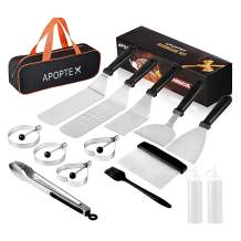 APOPTEX Blackstone Griddle Accessories, 15-Piece Restaurant Grade Stainless Steel Flat Top Grill Accessories, with Spatulas& Scraper& Carry Bag, for Outdoor BBQ, Teppanyaki, Camping