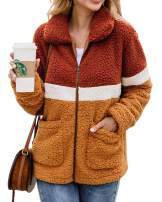 ECHOINE Jacket for Women - Lightweight Buttons Lapel Fuzzy Shearling Sherpa Fleece Coat Jacket with Pockets Warm Winter