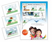 Yo-Yee Flashcards - Weather and Seasons Flash Cards with Matching Bingo Game Cards in One Set - Vocabulary Picture Cards for Toddlers, Kids, Children and Adults