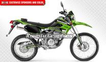 Kungfu Graphics Custom Decal Kit for Kawasaki KLX 250S 2008 2009 2010 2011 2012 2013 2014 2015 2016 2017 2018 2019 2020, Black Green Stripes, Style 006