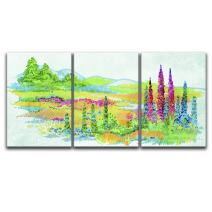 "wall26 - 3 Panel Canvas Wall Art - Bright Color Watercolor Style Painting a Spring Valley - Giclee Print Gallery Wrap Modern Home Decor Ready to Hang - 16""x24"" x 3 Panels"