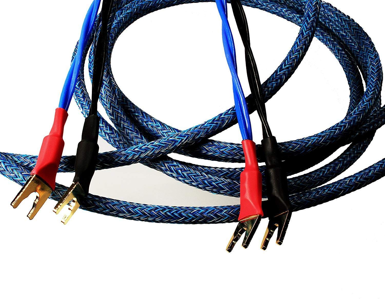 Better Cables (Pair-2 Cables for 2 Speakers) Blue Truth II Reference Speaker Cables - High-End, High-Performance, Premium Hi-Fi Audio with Gold Plated Spades - 6 Feet
