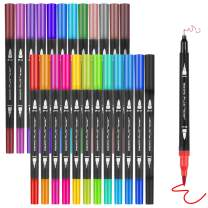 JARLINK Dual Markers Brush Pen, 24 Colors Fine and Brush Tip Markers, Quick Dry Versatile for Adult Coloring, Drawing, Hand Lettering, Planner Calendar