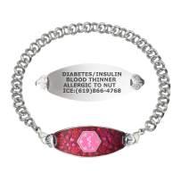 Divoti Custom Engraved Medical Alert Bracelets for Women, Stainless Steel Medical Bracelet, Medical ID Bracelet w/Free Engraving – Blooming Cherry Blossom Tag w/Knot Links– Color/Size