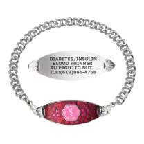 Divoti Custom Engraved Medical Alert Bracelets for Women, Stainless Steel Medical Bracelet, Medical ID Bracelet w/Free Engraving – Blooming Cherry Blossom Tag w/Knot Links– Color/Size