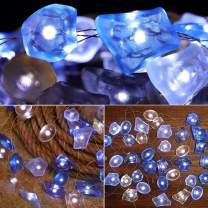 SunKite Seaglass String Lights, 8 Modes 13.85 Ft 40 Natural Beach Decor Lights LED Waterrproof Battery Operated Flickering Fairy String Lights with Remote(Seaglass)
