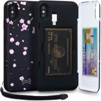 TORU CX PRO iPhone Xs Max Wallet Case Pattern Floral with Hidden Credit Card Holder ID Slot Hard Cover, Strap, Mirror & Lightning Adapter for iPhone Xs Max (2018) - Sakura Flowers