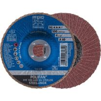 "PFERD Polifan SG Abrasive Flap Disc, Type 27, Round Hole, Phenolic Resin Backing, Aluminum Oxide, 4"" Dia., 120 Grit (Pack of 1)"