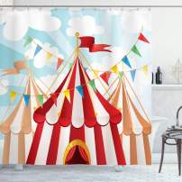 """Ambesonne Circus Shower Curtain, Circus Stripes Sunshines Through Cloudy Sky Traditional Performing Arts Theme, Cloth Fabric Bathroom Decor Set with Hooks, 84"""" Long Extra, Red White"""