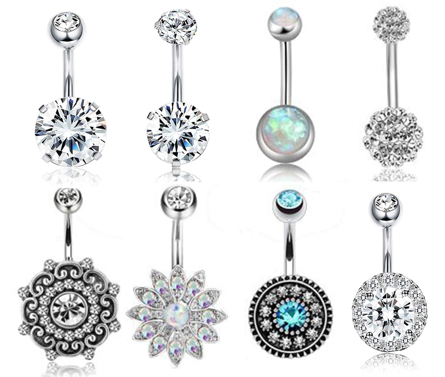 FIBO STEEL 8-12 Pcs Dangle Belly Button Rings for Women Navel Barbell Body Jewelry Piercing 14G Opal CZ Inlaid