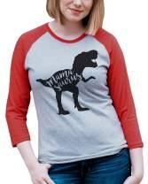 7 ate 9 Apparel Womens Mamasaurus Red Raglan Shirt
