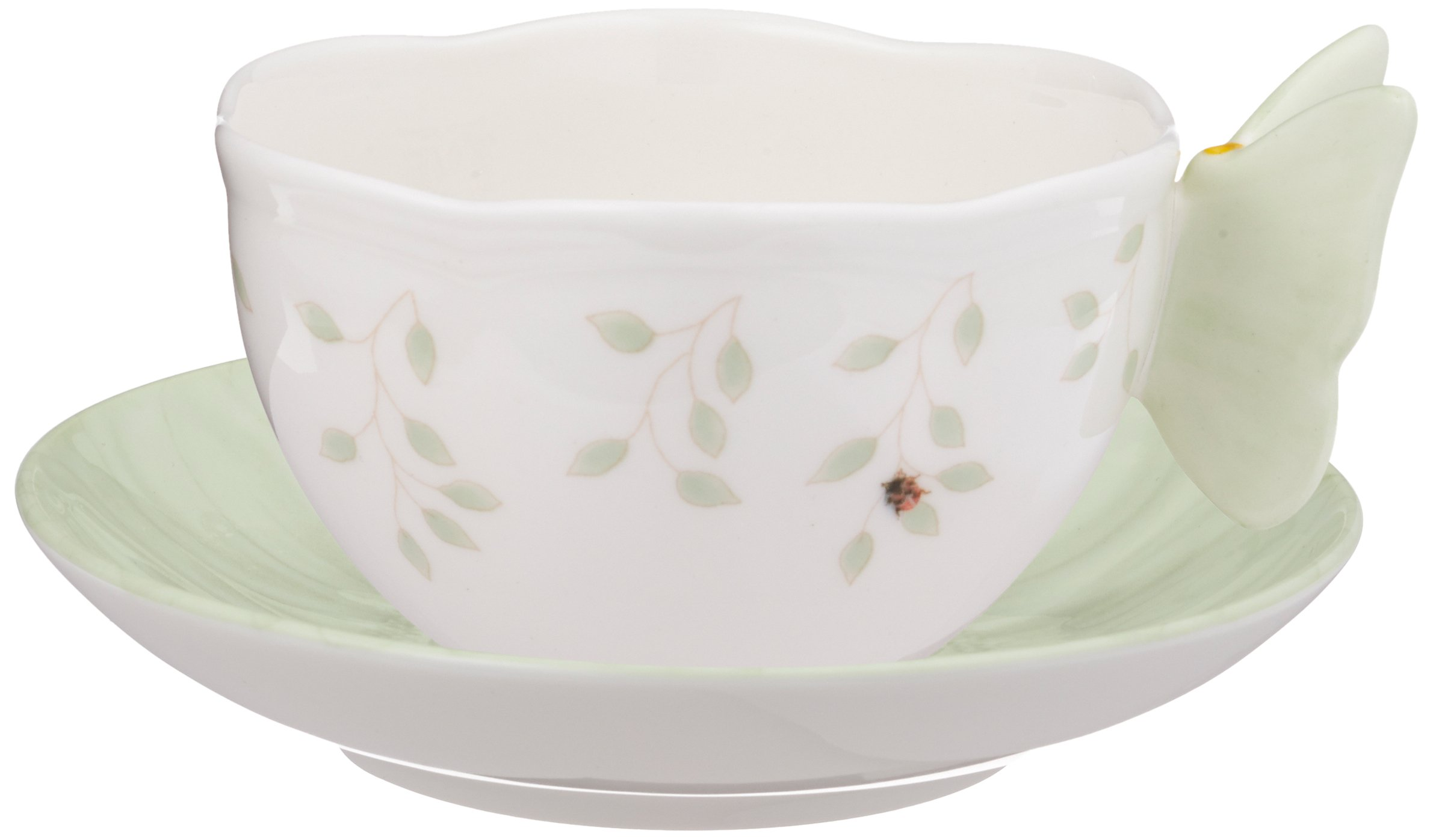 Lenox 817135 Butterfly Meadow Figural Green Cup and Saucer, 0.95 LB, White