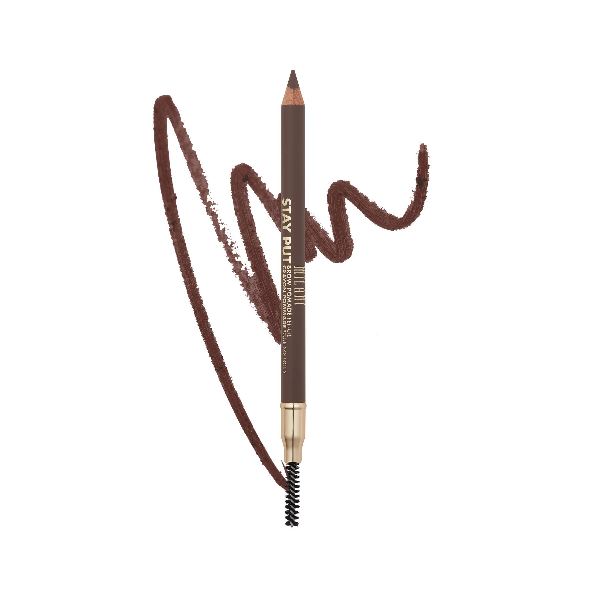 Milani Stay Put Brow Pomade Pencil - Dark Brown (0.03 Ounce) Vegan, Cruelty-Free Eyebrow Pencil to Fill, Shape & Define Brows