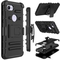 Google Pixel 3a Case, Yunerz Heavy Duty Shockproof Full-Body Protective Hybrid Case Cover with Swivel Belt Clip and Kickstand for Google Pixel 3a (Black)