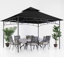 ABCCANOPY 10x12 Patio Gazebos for Patios Double Roof Soft Canopy Garden Backyard Gazebo for Shade and Rain, Black
