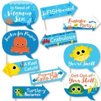 Big Dot of Happiness Funny Under the Sea Critters - Birthday Party or Baby Shower Photo Booth Props Kit - 10 Piece