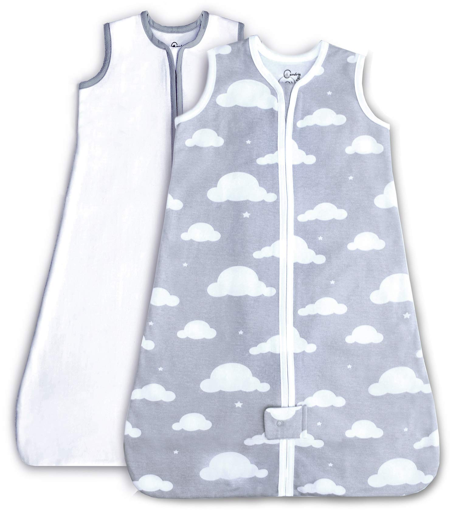 Cambria Baby 100% Organic Cotton Sleep Sack. Cozy and Safe, with Bottom to Top Zipper for Easy Diaper Changes. in White and Gray Cloud Pattern for Girls and Boys. 2 Pack (Medium)