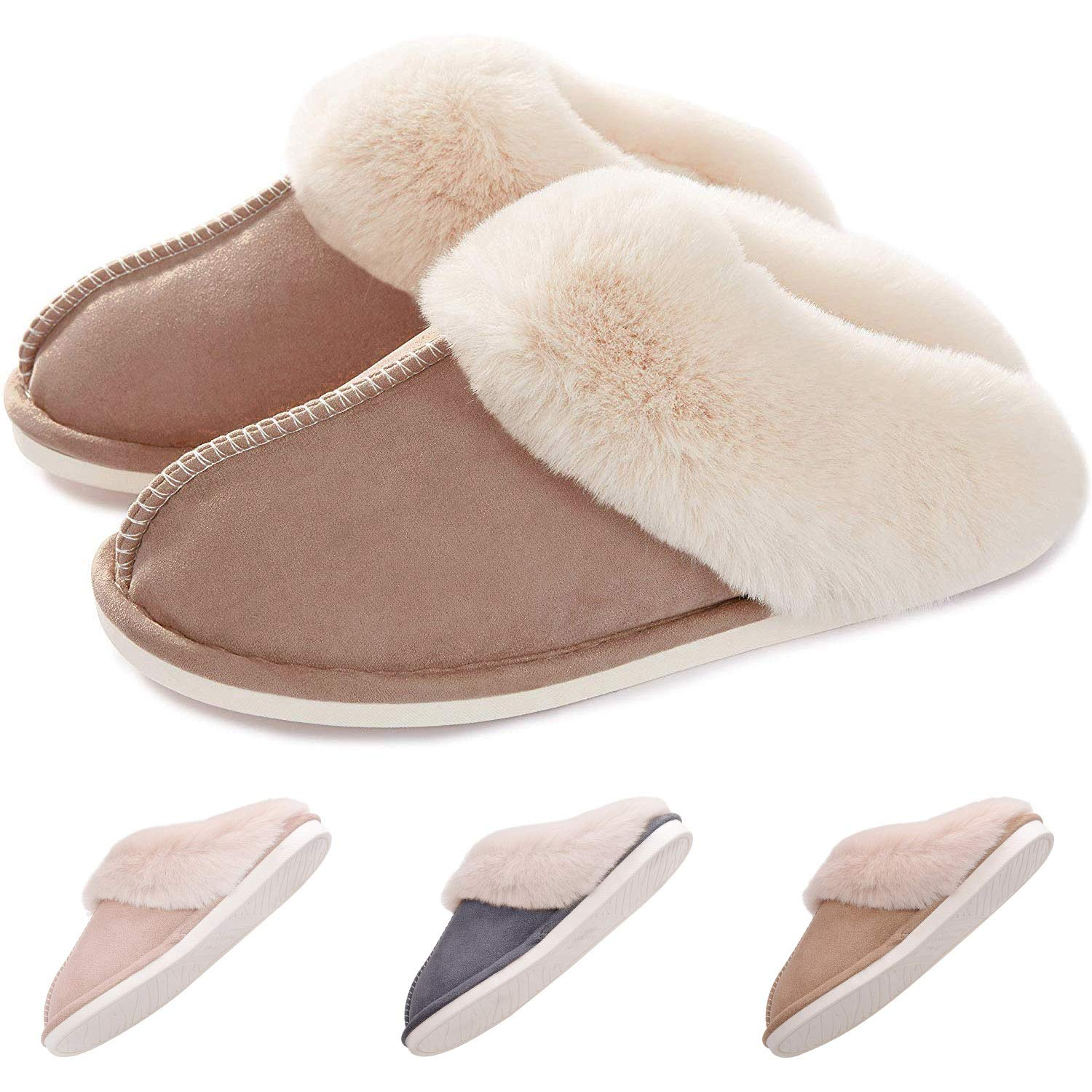 Women Slippers Memory Foam Fluffy Soft Warm Fuzzy Lining Slip On House Slippers, Non-Slip Cozy Slippers Shoes for Indoor Outdoor
