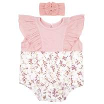 Baby Girl Rompers Set Ruffle Sleeve Outfit Floral Cute Bodysuit with Headband
