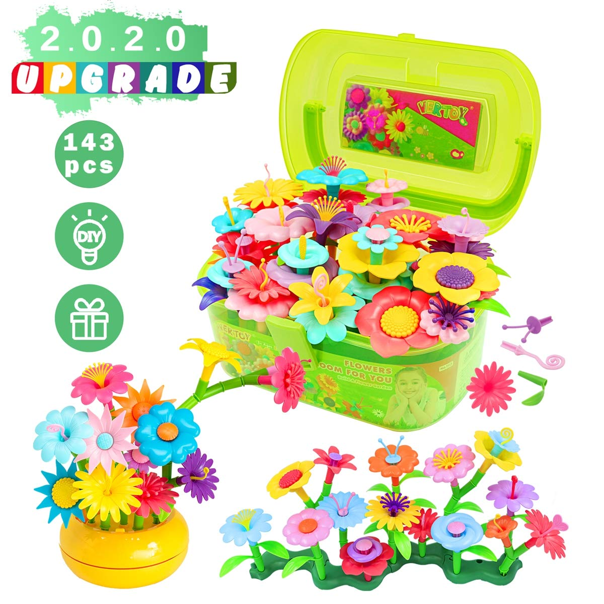 VERTOY Flower Garden Building Toy Set for 3, 4, 5, 6 Year Old Girls, Preschool Activities, STEM Educational Toys and Great Gift for Age 3+ yr Toddlers and Kids, 143 pcs