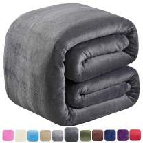 """SOFTCARE Soft King Size Summer Blanket All Season 350GSM Thicken Warm Fuzzy Microplush Lightweight Thermal Fleece Blankets for Couch Bed Sofa Dark Grey 90"""" 108"""""""