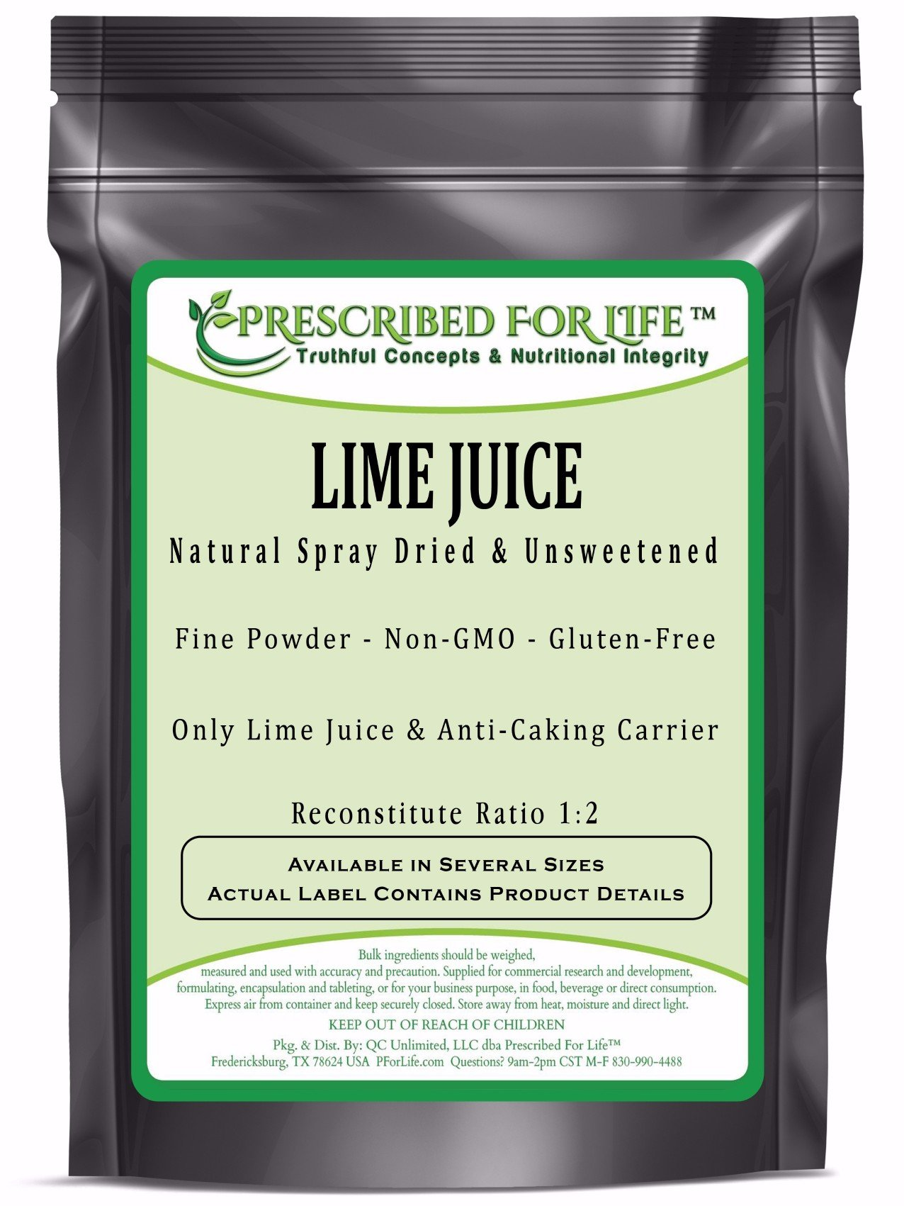Lime Juice Powder - Natural Spray Dried & Unsweetened Non-GMO Lime Juice - Reconstitute Ratio 1:2, 2 kg