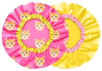 2 Luxury Shower Caps For Women & Girls - Waterproof, Mold Resistant, Reusable, Breathable & Washable. Best For All Hair Lengths. Cute Stylish Cat Pattern Bath Cap - Cutie Pie By Grace & Company