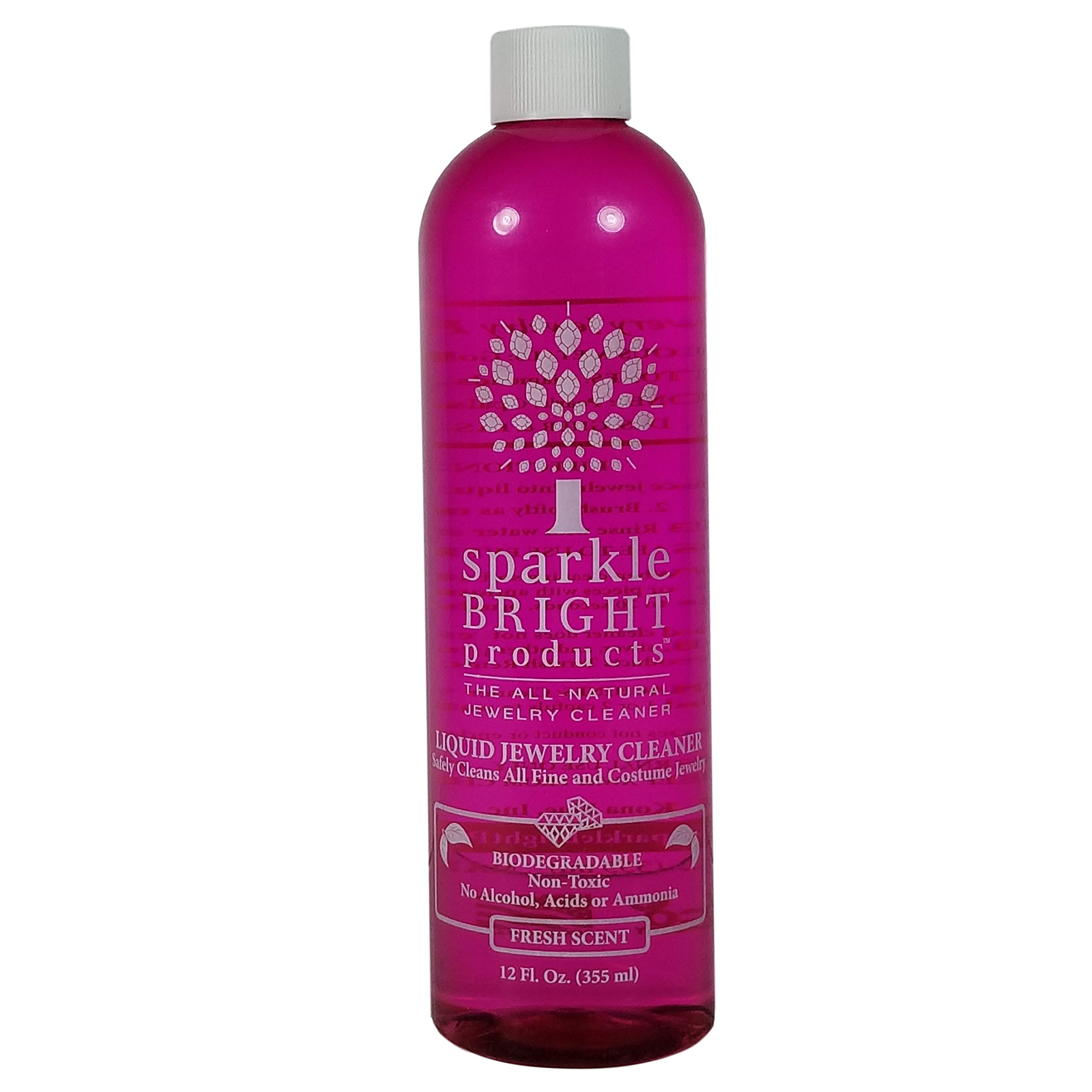 Sparkle Bright Products All-Natural Jewelry Cleaner   Liquid Jewelry Cleaning Solution, 12oz. Refill Bottle   Ultrasonics, Diamonds, Fine, Fashion, and Designer Jewelry