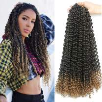 7 Packs Passion Twist Hair 18 Inch Water Wave Synthetic Braids for Passion Twist Crochet Braiding Hair Goddess Locs Long Bohemian Locs Hair (22Strands/Pack, T27#)
