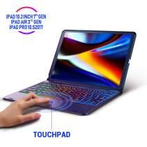Keyboard Case for iPad 10.2 2019, iPad Air 10.5 2019, iPad Pro 10.5 2017 – Touchpad Keyboard Compatible with iPad 7th Generation/iPad Air 3 – Backlight Keyboard for Tablet (Black)
